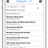 See lists of hotspots near any point on the map